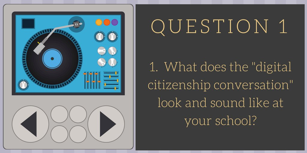 """Q1  What does the """"digital citizenship conversation"""" look and sound like at your school? #txlchat https://t.co/2Ssoqu9oad"""