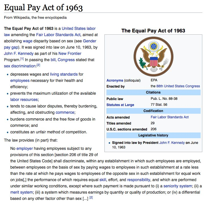 a history of the equal pay act