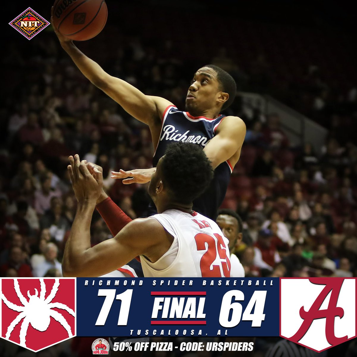 .@SpiderMBB defeats Alabama 71-64 to advance to the 2nd round of the NIT! #OneRichmond #RollSpides https://t.co/hGUCm7tmaC