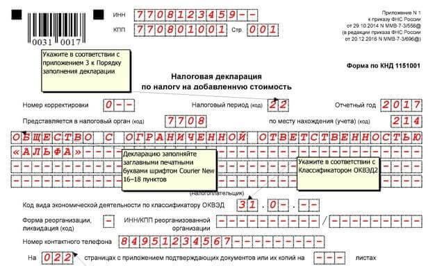 Декларация по ндс бланк 2012 скачать