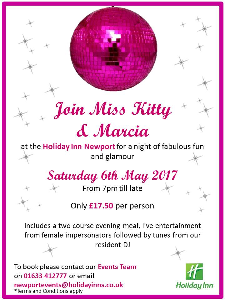 Join Miss Kitty and Marcia at the Holiday Inn Newport on Saturday 6th May 2017. Call us on 01633 412777 to book your tickets now! #HINewport https://t.co/3zDxMjsVgW