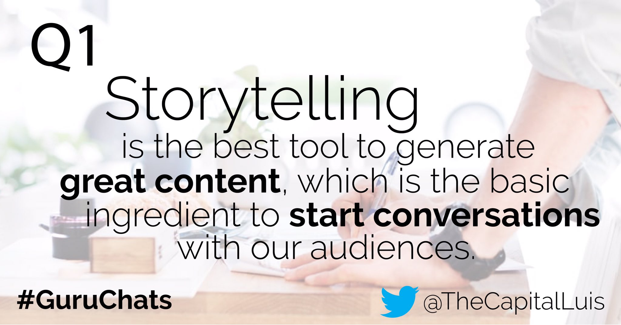 A1. Storytelling can be any marketer's BFF by helping them start meaningful conversation with their audience. #guruchats https://t.co/O3xG82eMfg