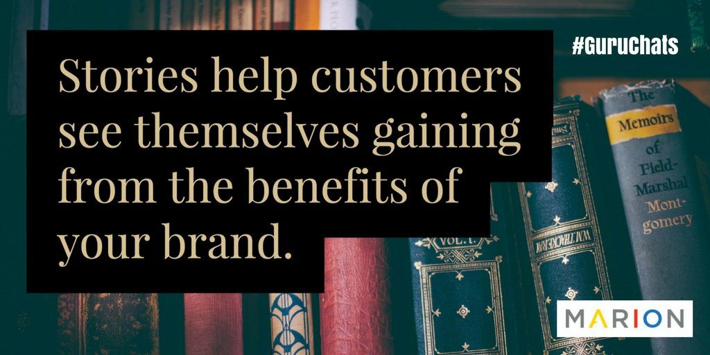 A1: Use storytelling 2 help customers see the benefits of products/services. Customers put themselves in the story & that sticks. #GuruChats https://t.co/8t3sebihzx