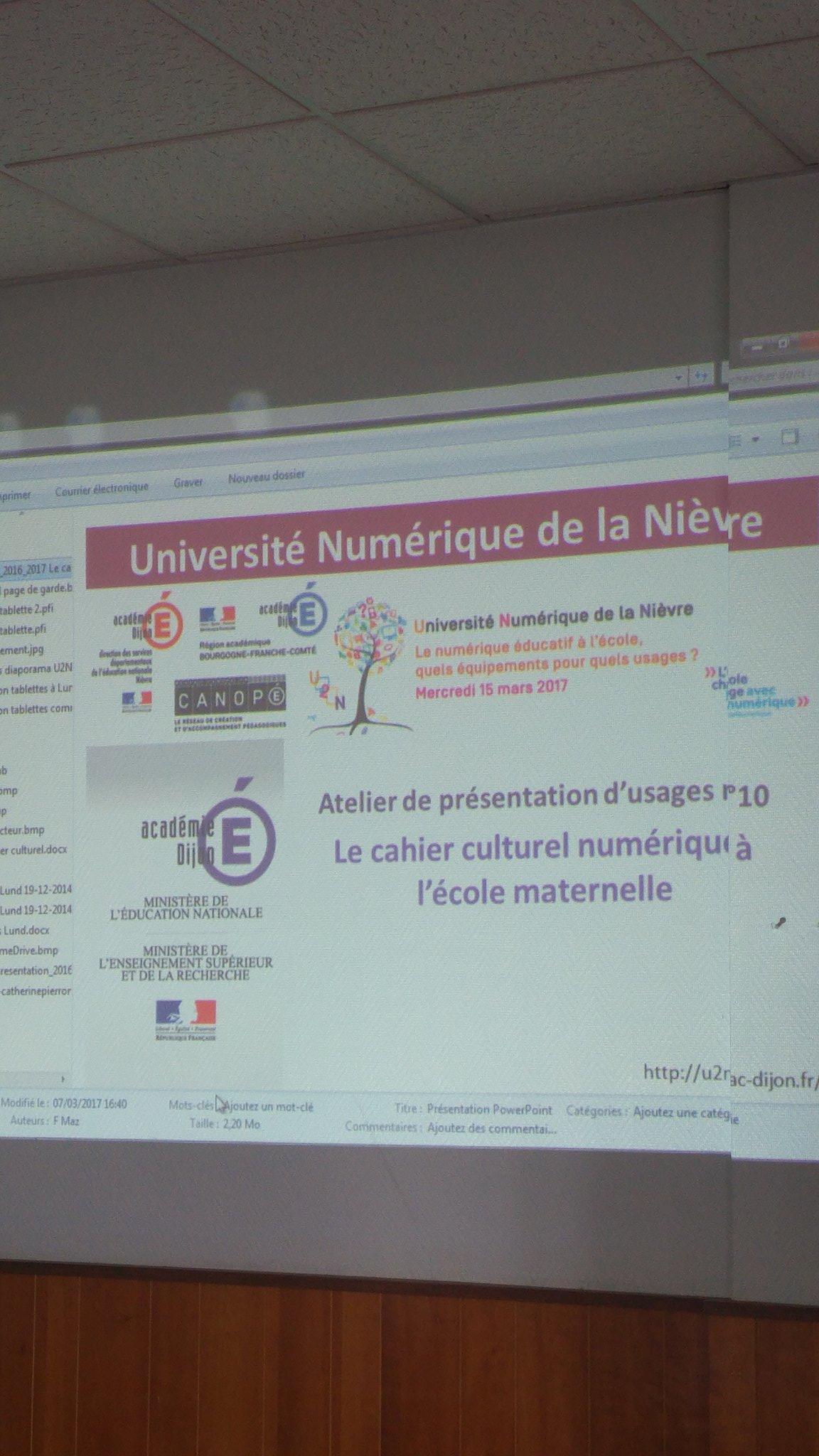 #U2N découverte du cahier culturel numérique à l'école maternelle au foyer #ESPE @canope_58 @reseau_canope @dsden58 @dane_dijon https://t.co/xdj6NTNIJS