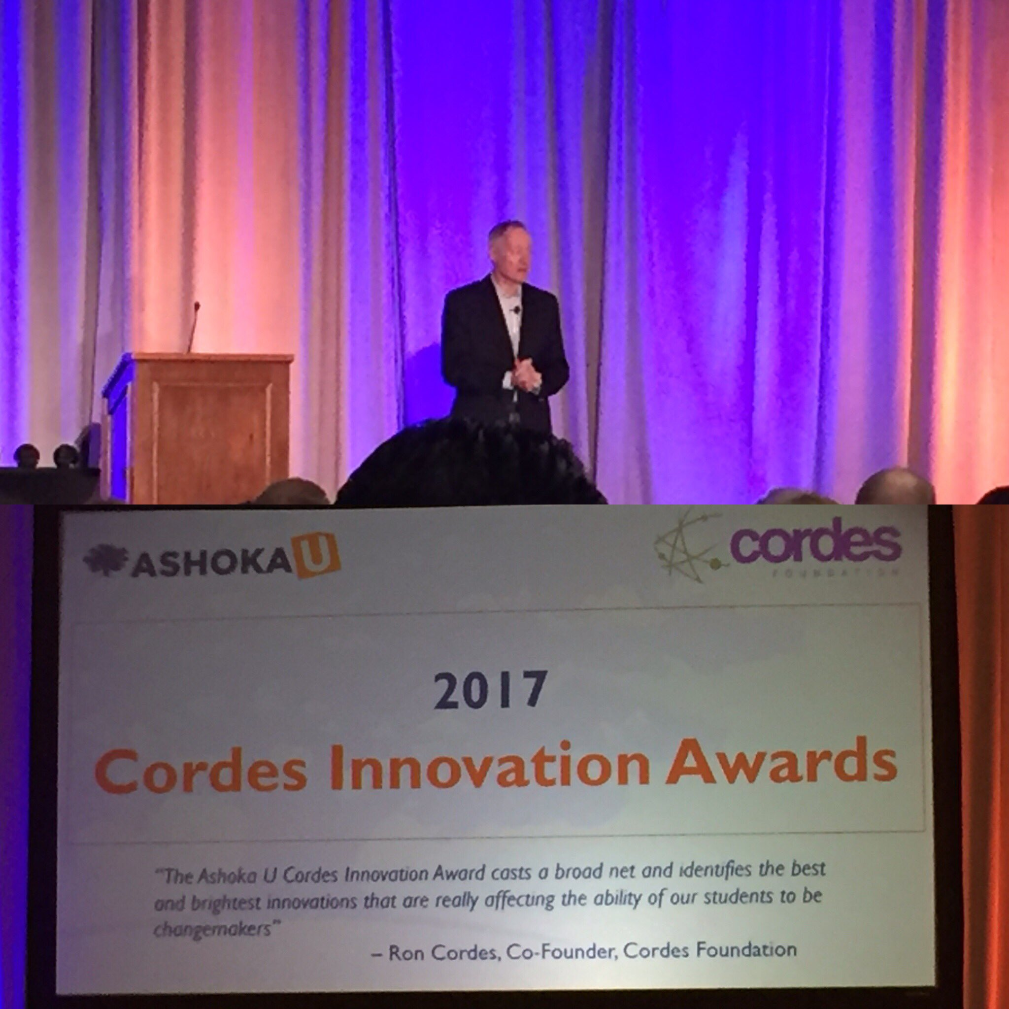 Great to see @cordesfdn #innovation awards for social entrepreneurs & #highered at #Exchange2017 #in @CraigZelizer https://t.co/qc5YShbzUj