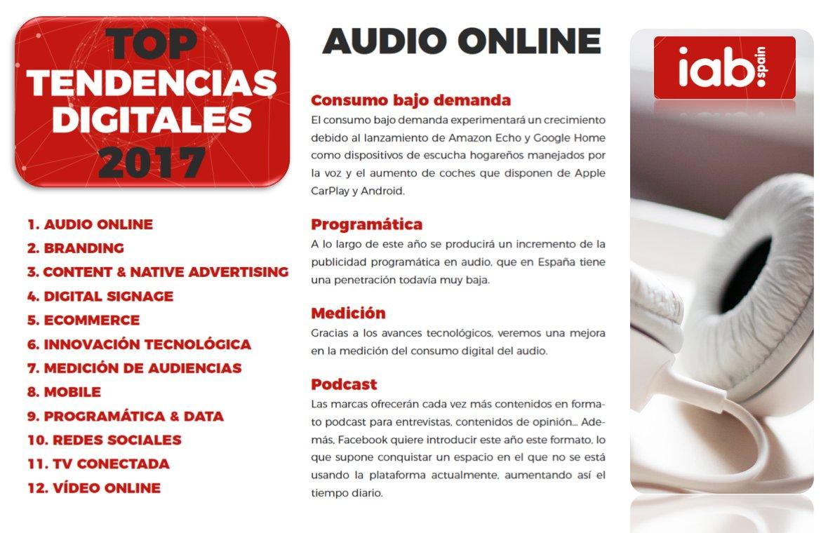 El aumento de su consumo y una mejor métrica convierten #audio online en gran tendencia digital 2017 para @IAB_Spain https://t.co/k52PNuCNTd https://t.co/aCQgGMDQTF