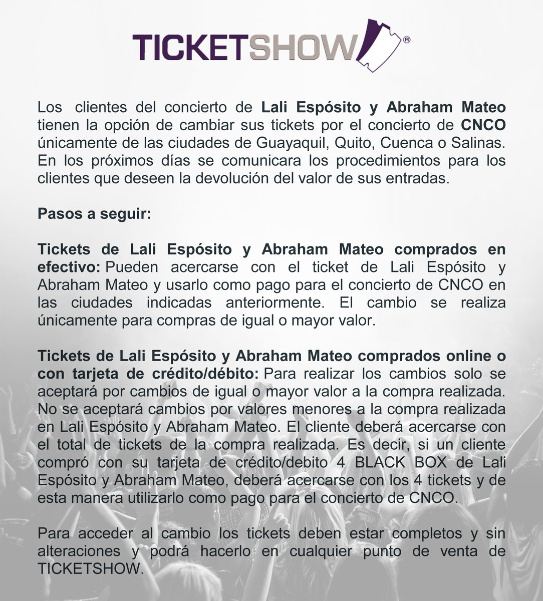 Ticket Show On Twitter Comunicado Sobre El Canje O Devolución De