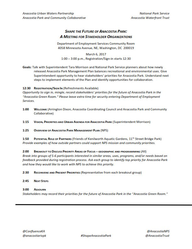 #shapeanacostiapark agenda - amazing, huh?!   Registration now closed but we'll be a-tweetin' Monday 12:30-3p. And we'll blog summary, more! https://t.co/qF3FzoJv11
