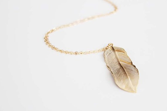 Feather Long Pendant Necklace