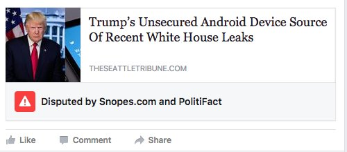 Facebook now flags link to sites it suspects of spreading fake news.