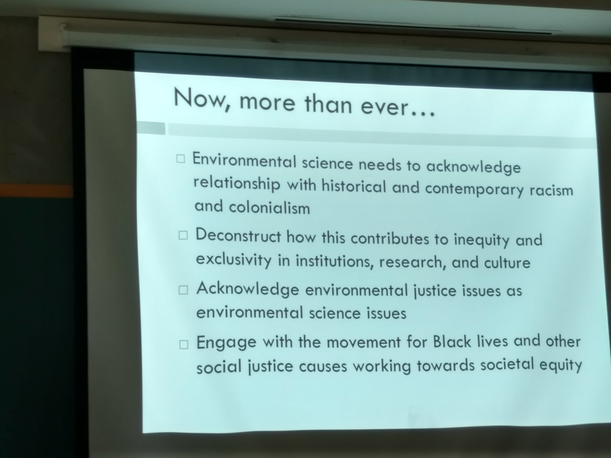 #Environmentaljustice needs to be acknowledged as environmental science issues.Who are we bringing to the table?@cynth_malone #BLACKandSTEM https://t.co/tD9vetgslG
