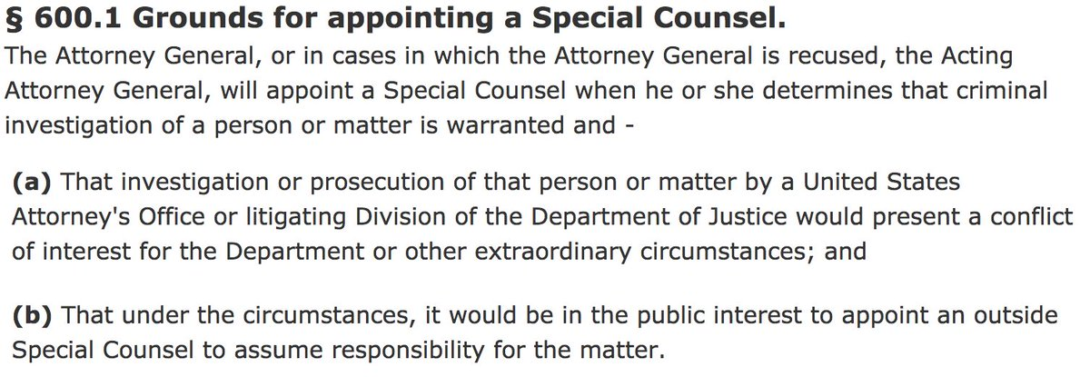 The Acting Deputy Attorney General must appoint an independent Special Counsel. The DOJ's regulations clearly state: