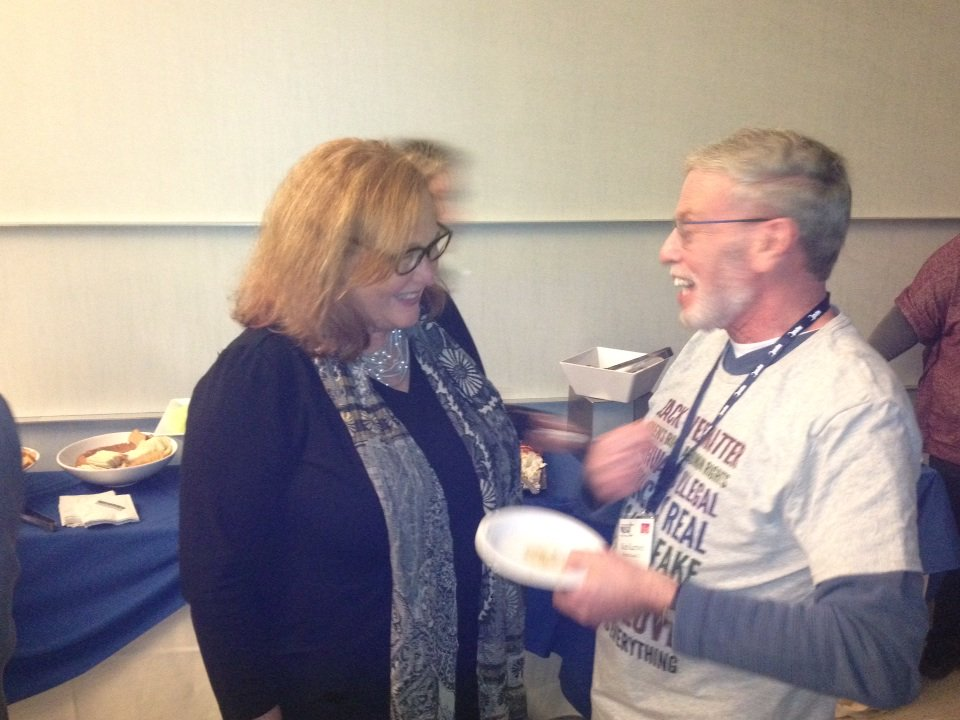 .@NYSUT Pres @KarenMageeNYSUT greets longtime CHR member Ken Kurzweil of Bedford TA, ret., @ Women's Conf. https://t.co/QVNi6F15Od