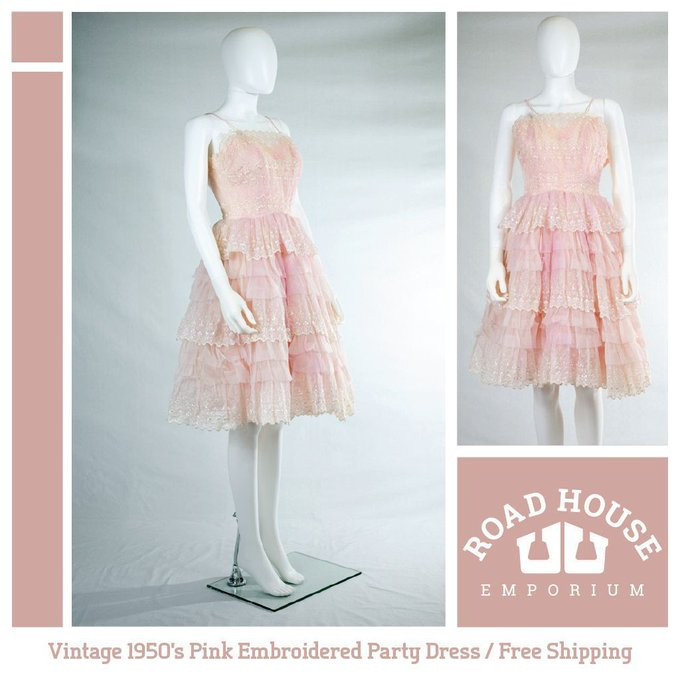 1950's Pink Embroidered Party Dress FREE SHIPPING!