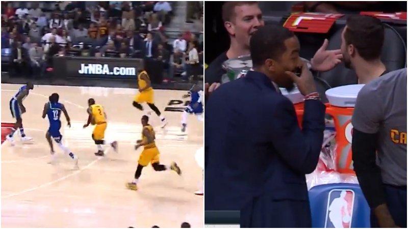 【影片】風騷到炸!Irving秀華麗控球1V2晃暈對手,場邊的JR被這一幕震驚!