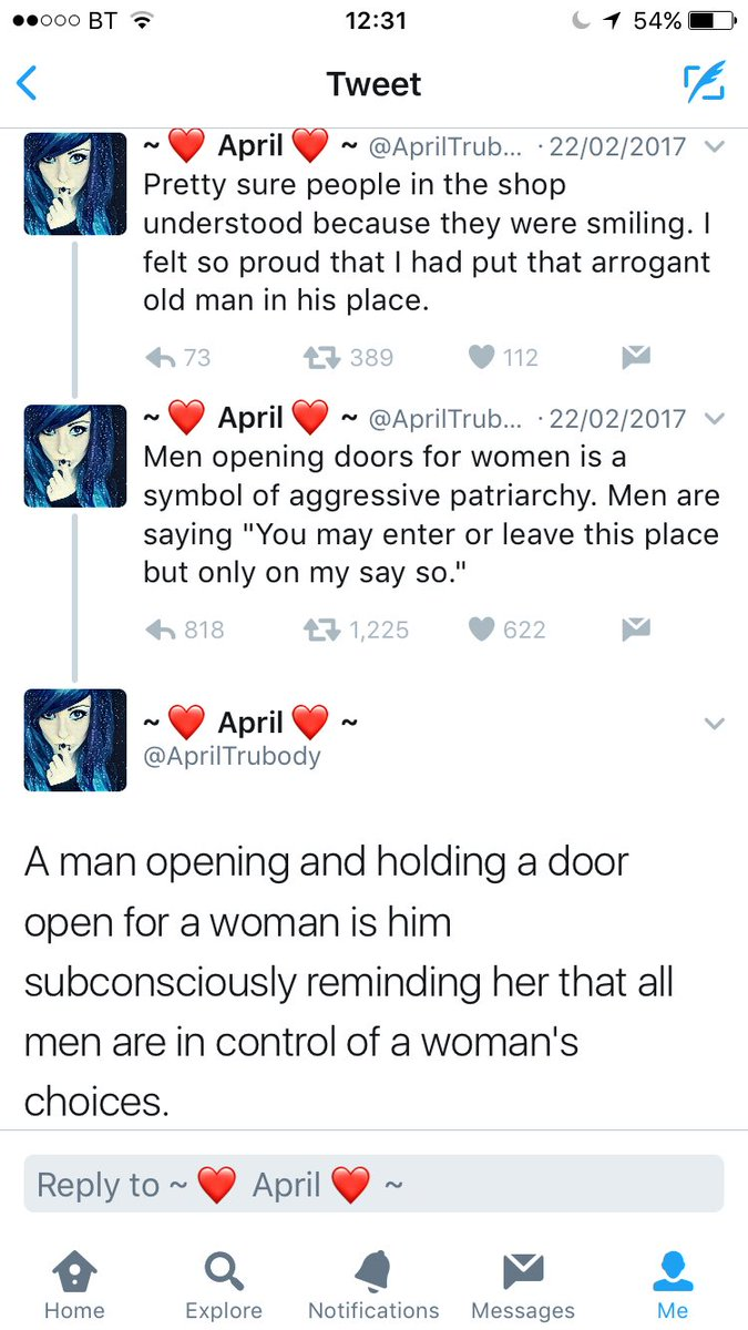 Erin on twitter a sweet old man held the door open for this girl erin on twitter a sweet old man held the door open for this girl and she went off on him thinking she was some kind of feminist hero what a dumb bitch buycottarizona Choice Image