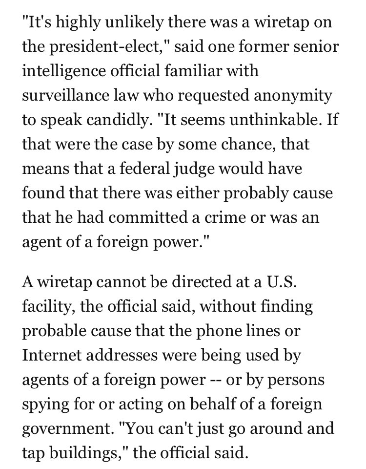Trump claims his phones were tapped. If they were, it means a federal judge found probable cause of foreign activity https://t.co/MuRS36e8oB