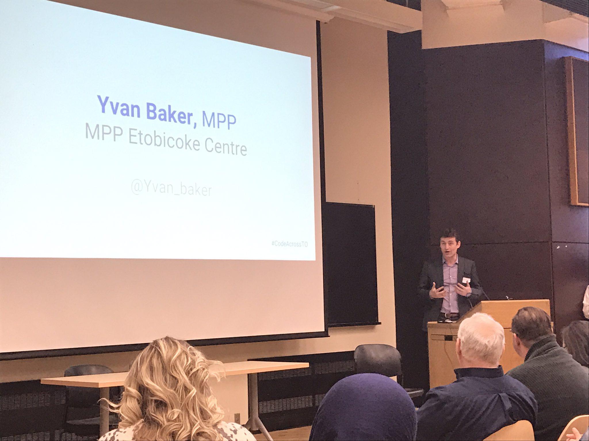 Yvan Baker providing opening remarks at #CodeAcrossTO @Yvan_Baker https://t.co/jmAuD9LSbO