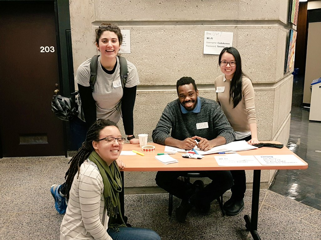 Special shout-out to all our amazing volunteers! #CivicTech #CodeAcrossTO https://t.co/0viVPMiIqb