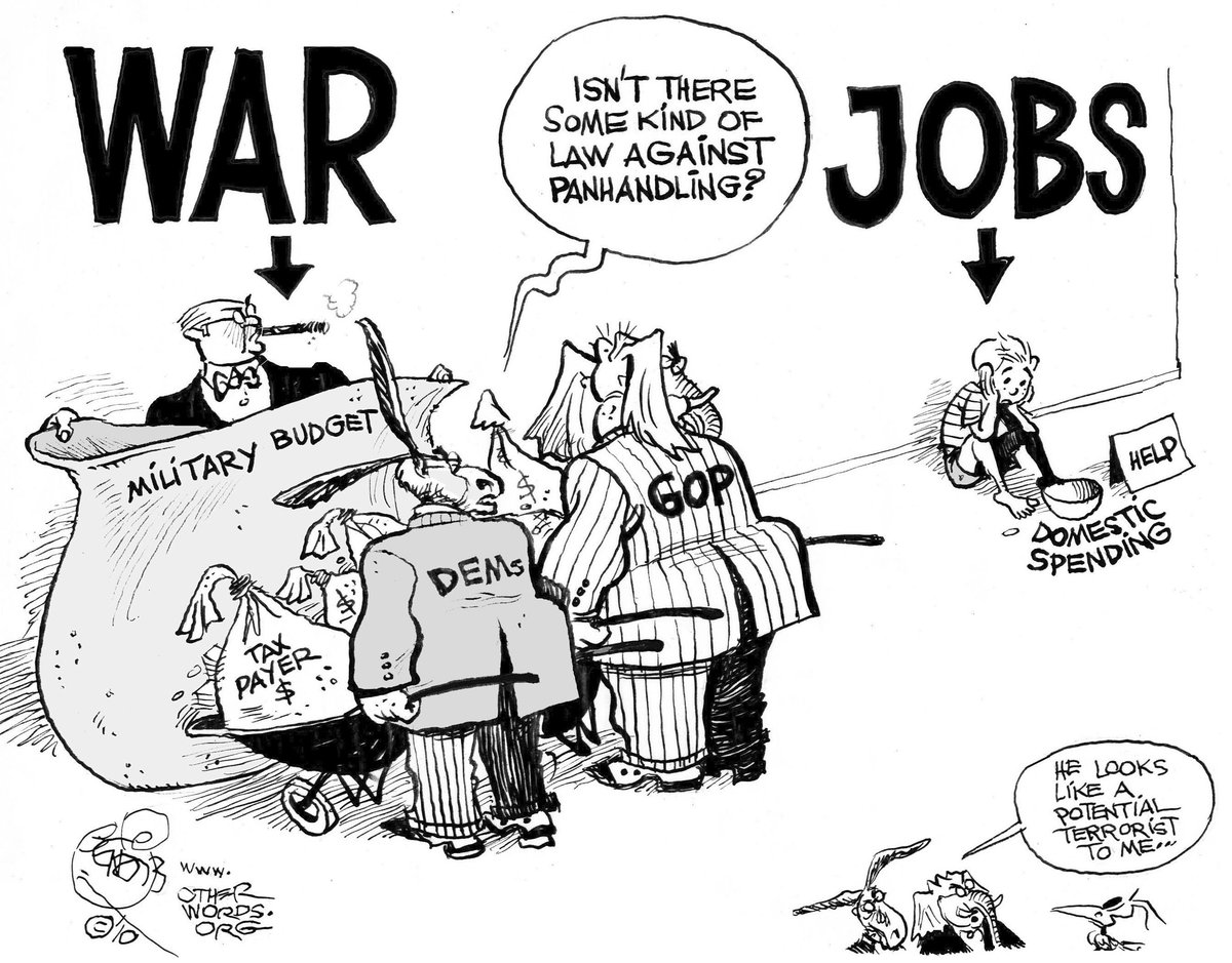 United States military budget, cartoon