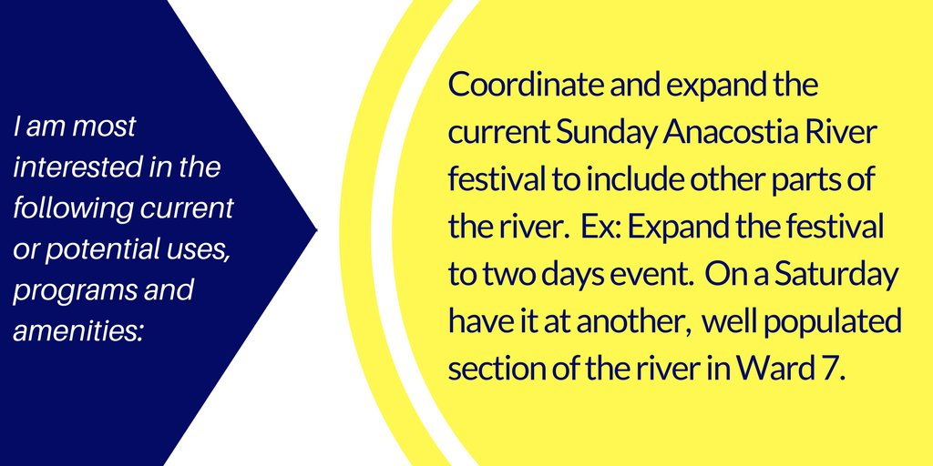 This registrant wants the Anacostia River Fest expanded to 2 days w/ 1 day in #ward7.  @AnacostiaNPS #shapeanacostiapark https://t.co/HM0Nskjq6D
