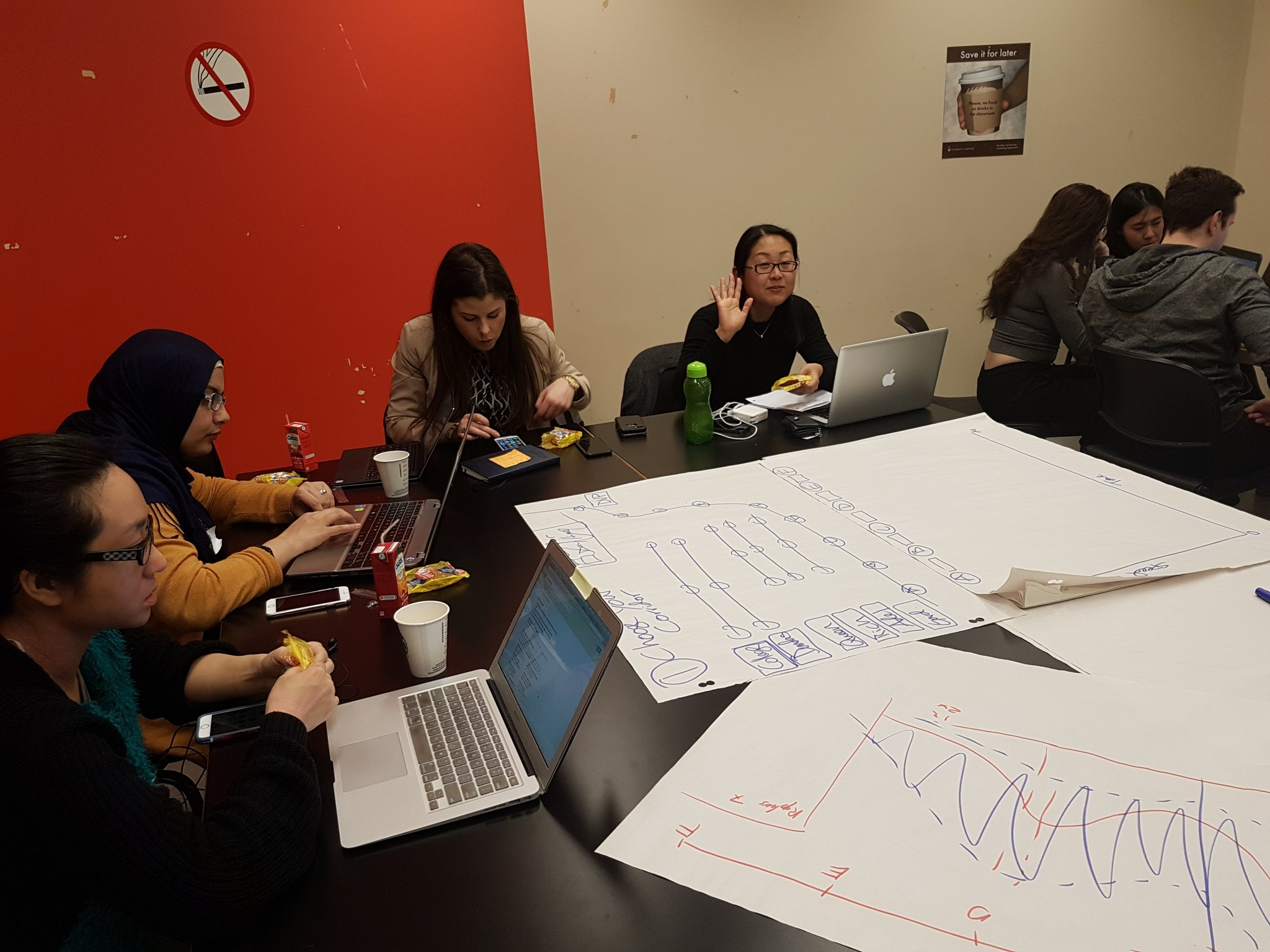 Check out these awesome women working on the Transportation challenge! #CodeAcrossTO #OpenData @TO_Transport brought an excellent project 👌 https://t.co/072p3T1LZd