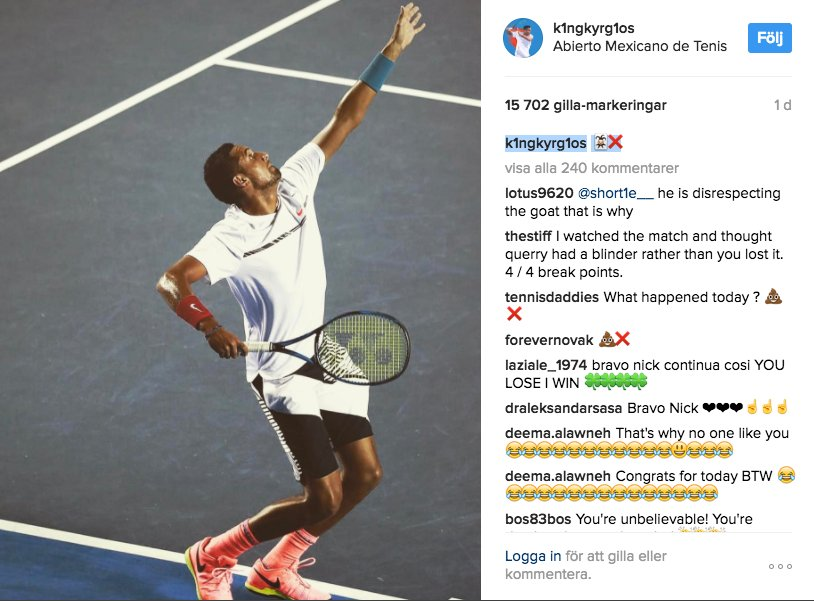Image result for kyrgios djokovic instagram