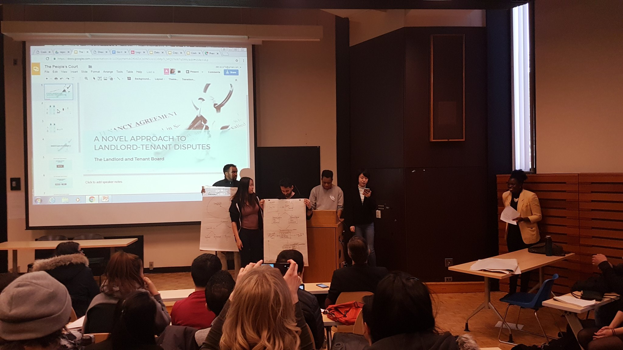 Pitched at #CodeAcrossTO : Create a portal to allow landlords and tenants to speak directly. They'd never set foot in a tribunal. #onpoli https://t.co/KJ1xka8jem