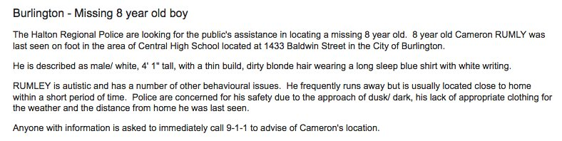 8 year old boy missing in Burlington.  #CameronRumley #BurlON  Photo and description ---> https://t.co/zz4jsBWD7n