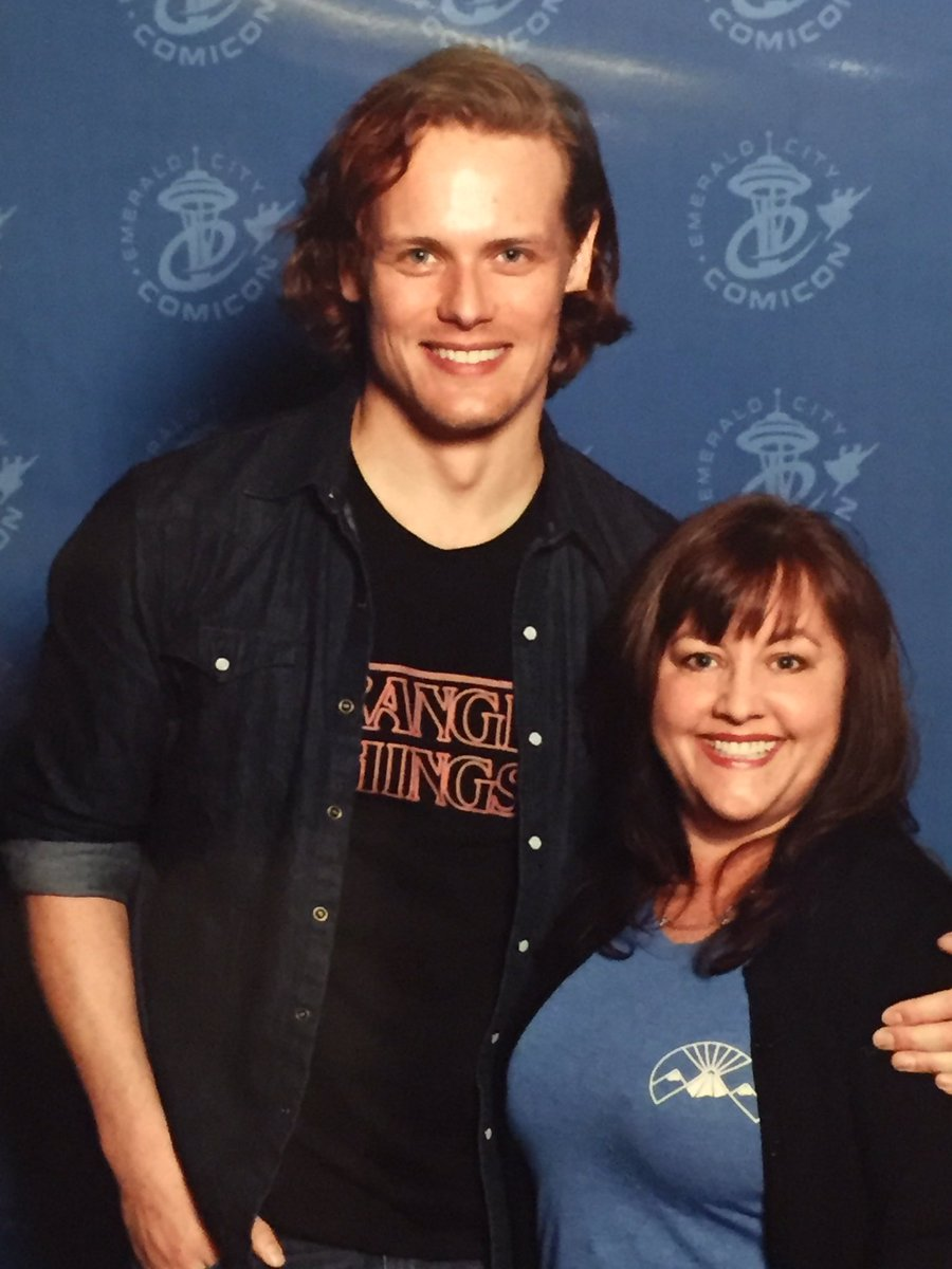 Oh sweet Jesus!  Thank you @SamHeughan for your endless smiles and humor to give back to the fans! 😘#PricelessMoments #eccc #outlander