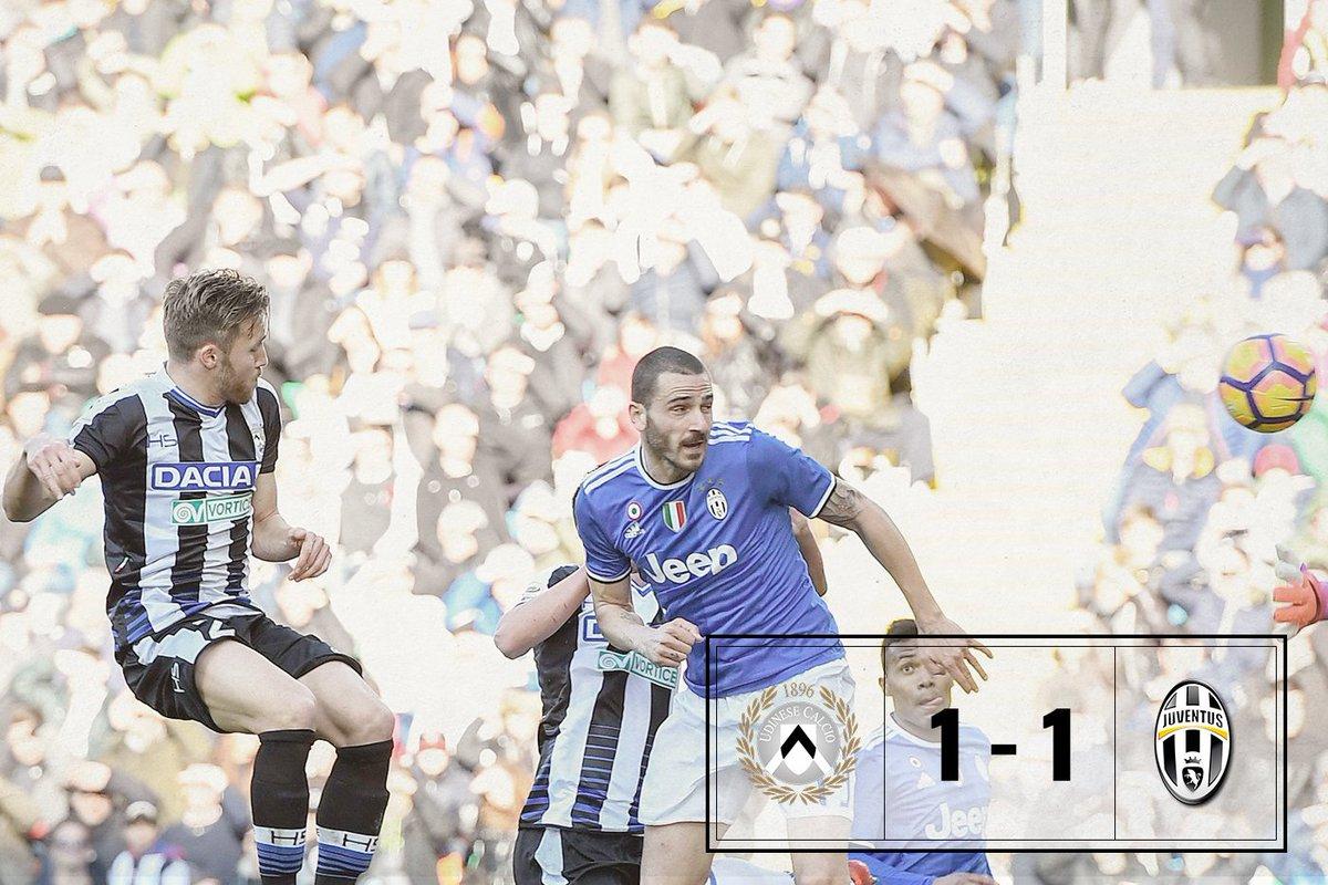 Udinese Juventus 1-1: Zapata e Bonucci per il primo pareggio nel torneo