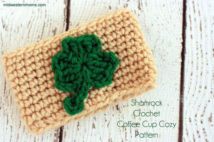 Shamrock Crochet Coffee Cup Cozy Pattern