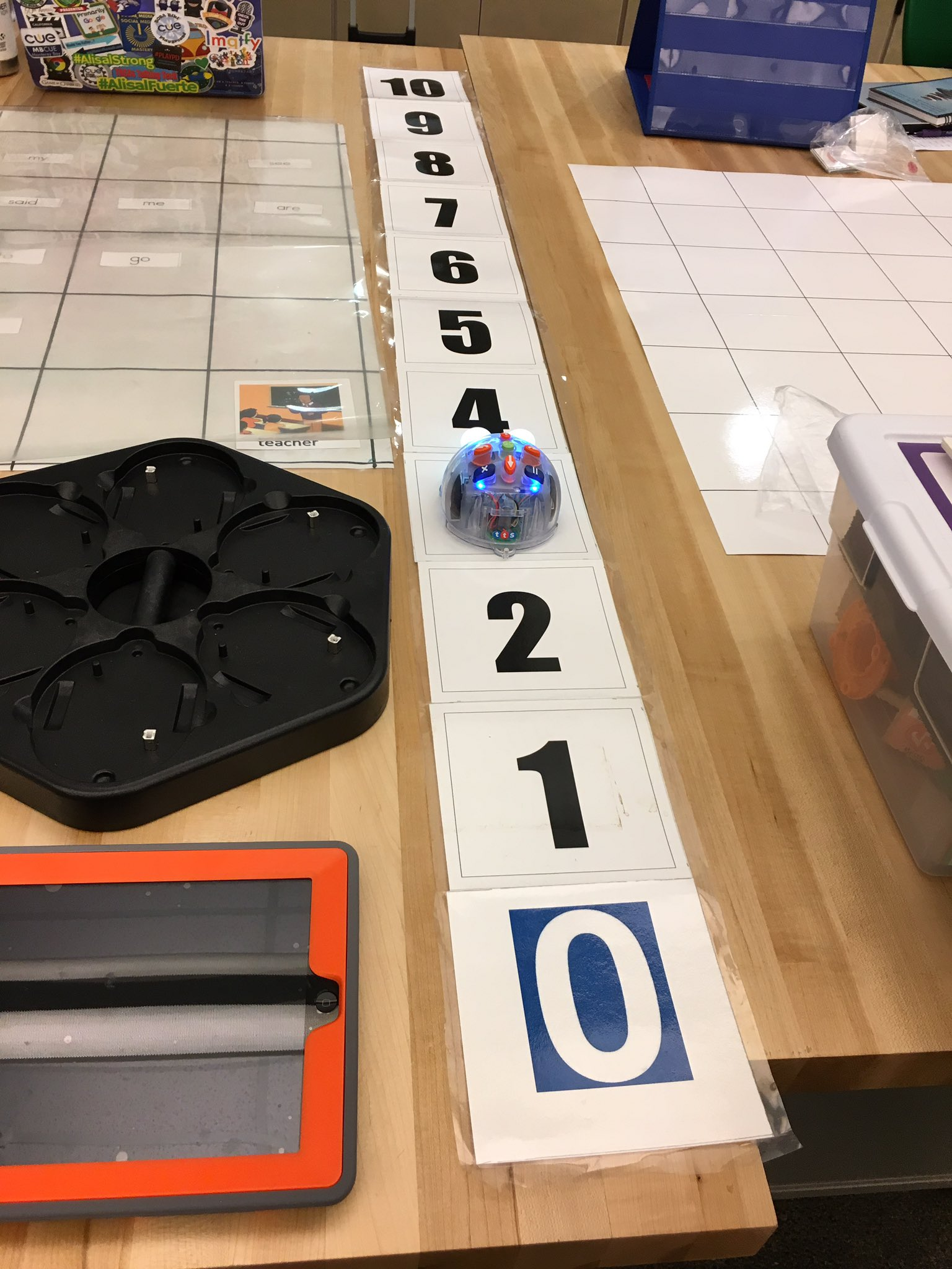 Great sesh @ #svcue on #kinderbotics with Manuel Munguia! Love the use of #BeeBot for add'n & subt'n skills using a linear grid. #usdlearns https://t.co/XF9kWq2Ja2