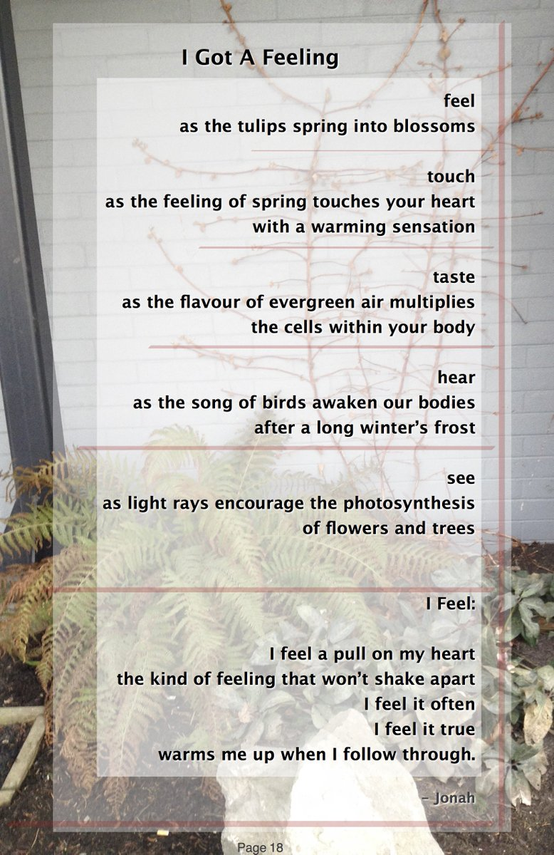 &quot;I Got a Feeling&quot; by @JMTreasure in #CedarBarkPoets &quot;#Resolutions &amp; #Music&quot;  http://www. friendsofthegrove.ca/2017/03/05/ced ar-bark-poets-book-20-resolutions-music/ &nbsp; …  #SurreyBC #poetry<br>http://pic.twitter.com/VH4qaRFF2e