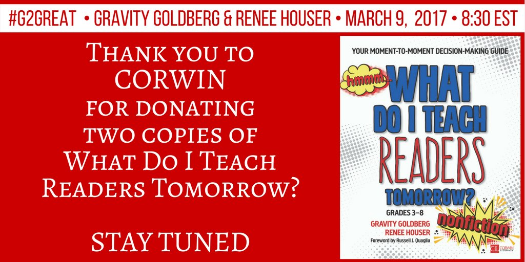 Thank you Corwin! @CorwinPress We'll be announcing a winner near the end of our #G2Great chat tonight. https://t.co/Qw6f6CgJgz