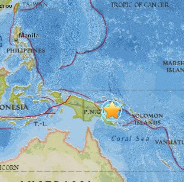 Terremoto oggi: violento sisma in Nuova Britannia (Isola in Papua Nuova Guinea), no tsunami