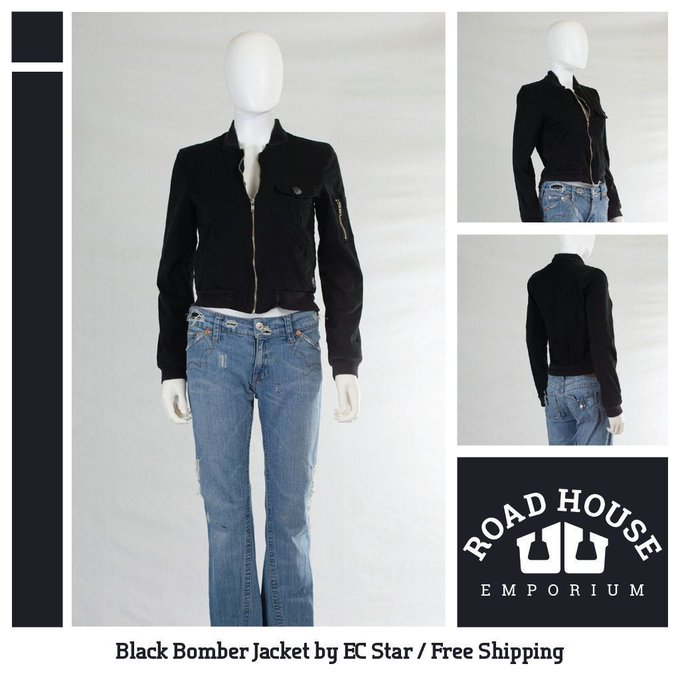 Black Bomber Jacket FREE SHIPPING!!! EC Star