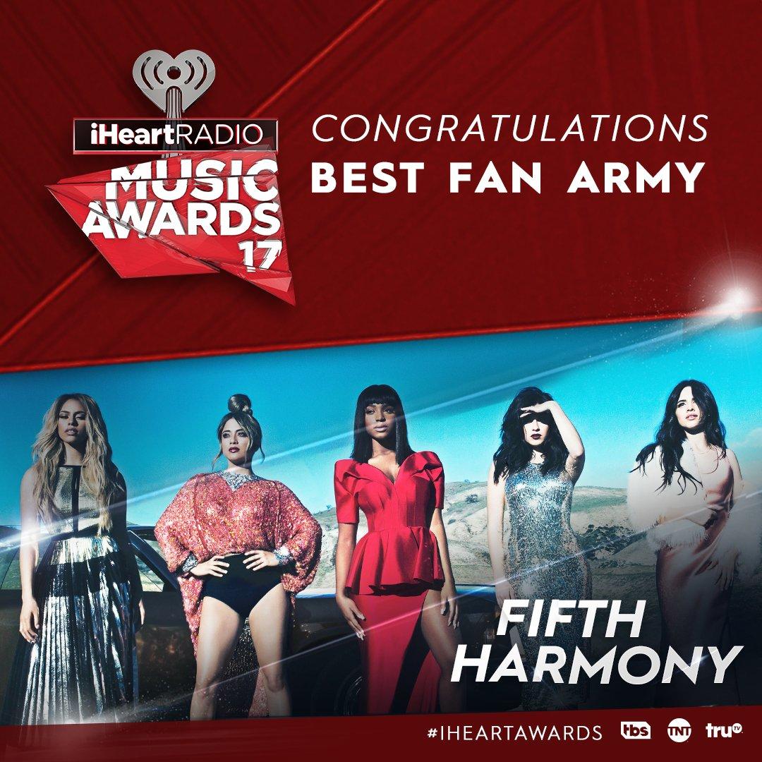 The #Harmonizers are the champions! Congrats on the #BestFanArmy win @FifthHarmony. #winning #iHeartAwards