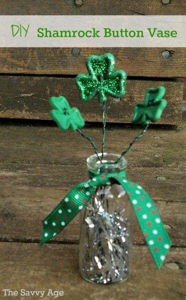 DIY St. Patrick's Day Shamrock Button Vase