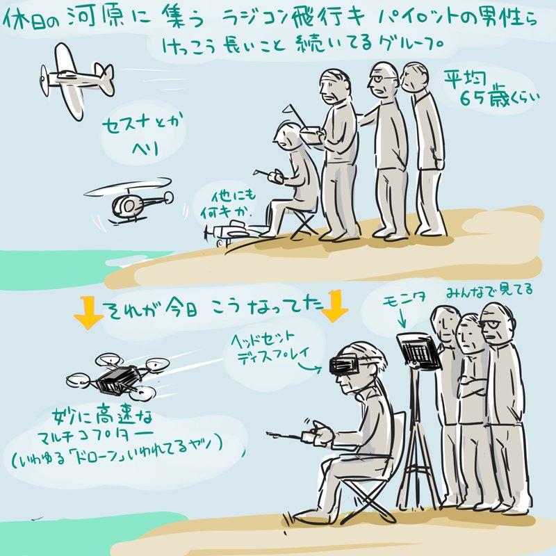 近所の河原でちょいちょい見るラジコン飛行爺様グループが久々に見たらとってもサイバーな感じになっていた 私より時流に乗ってる