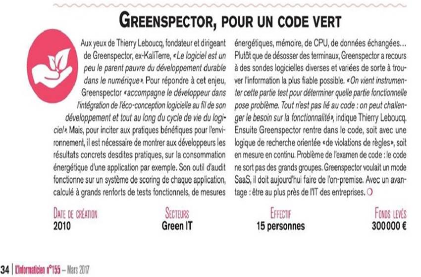 Un focus sur @Green_spector et l'#écoconception des #logiciels dans @l1formaticien de mars! #GreenIT #NantesTech ➡️ https://t.co/NWxGjTgaCX https://t.co/QRaN88eQM6