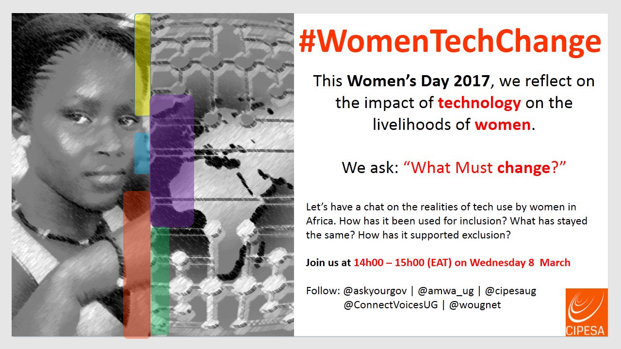 "#IWD2017 #IWD Even though many women utilise #Tech, the #gender #digitaldivide continues> We ask ""What Must Change?"" #WomenTechChange #ICT4D https://t.co/6S8TKynW2Q"