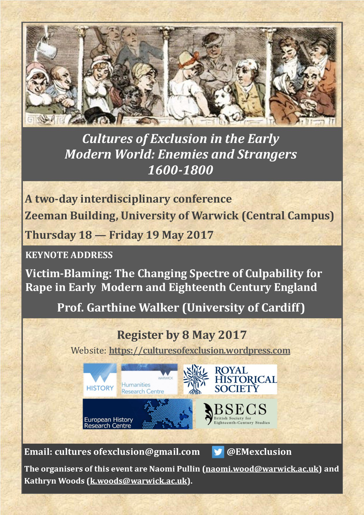 Registration for Cultures of Exclusion in EM World conf. @WarwickHistory is now open with fab line-up: https://t.co/xRbno3E1x5 #earlymodern https://t.co/uiegmaGjCg