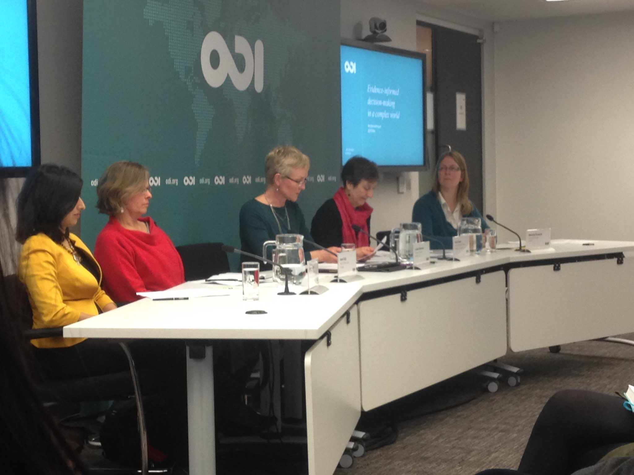 Female only panel in the discussion on 'evidence-informed decision-making in a complex world' at ODI. That's refreshing #evidence4impact https://t.co/HWGx463EVU