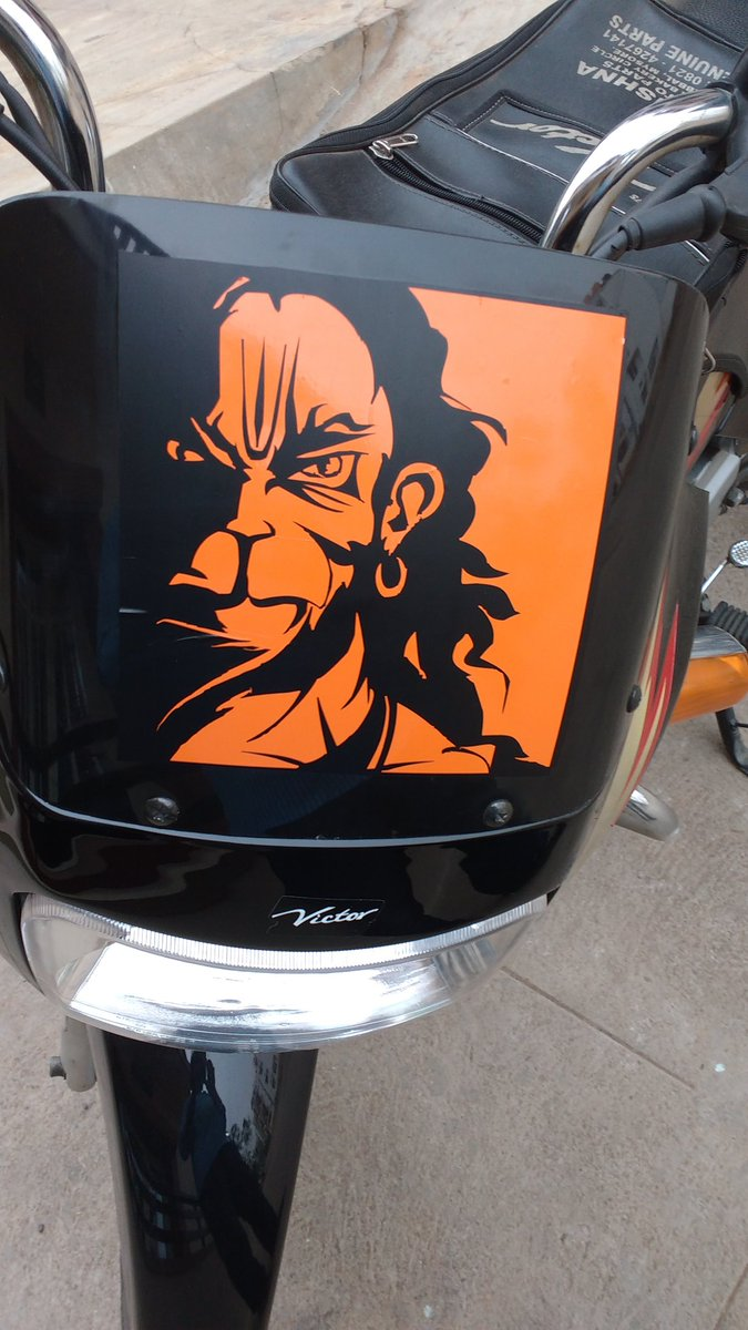 Chikku on twitter today finally i got anjaneya sticker on my bike jaihanuman