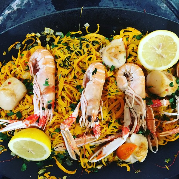 Langoustines with Sweet Potato Linguine