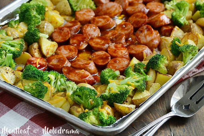 Sheet Pan BBQ Smoked Sausage Dinner