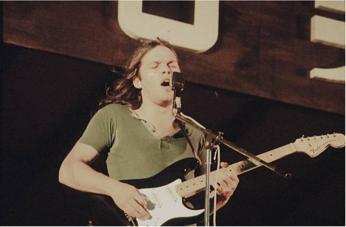 Happy birthday David Gilmour  With Pink Floyd at Hakone Aphrodite Kanagawa, August 6, 1971 Photo: Shinko Music