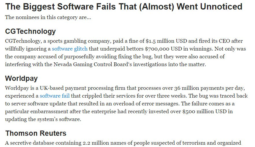 The Most Shocking Software Failure Award Goes To… via @DZone https://t.co/xjxjte5Rf8 https://t.co/i7lHCtuKFW