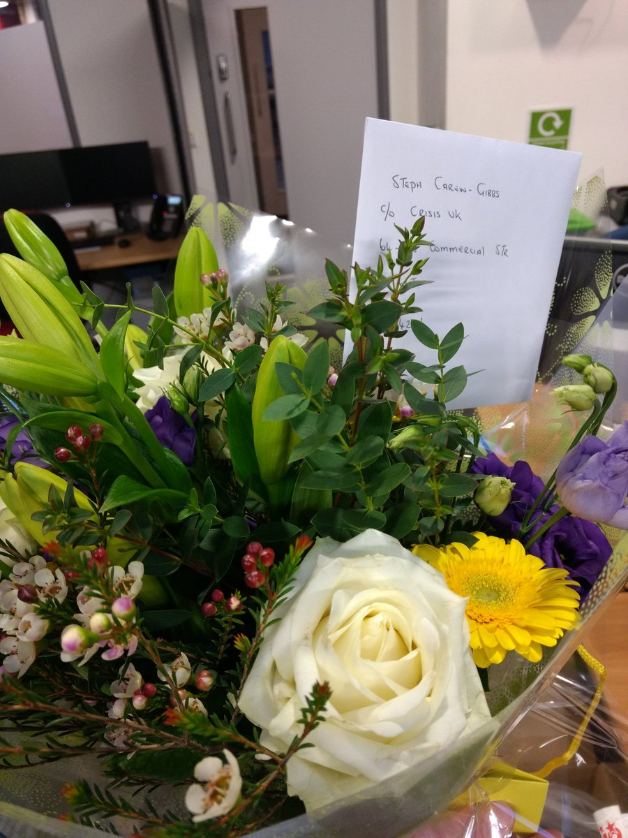Hello! We received some flowers for you here at @crisis_uk